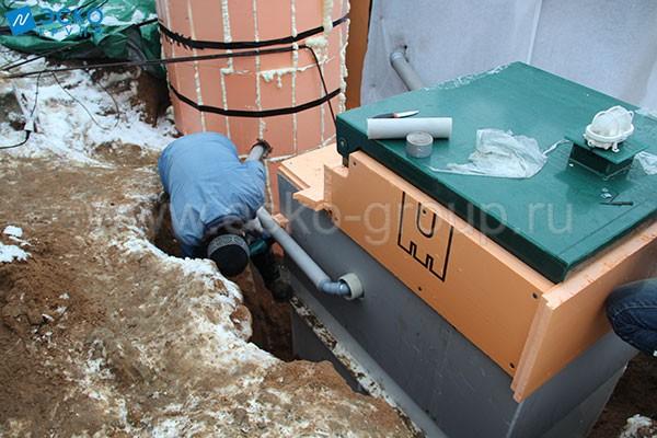 Подключение друбы для сброса очищенного стока в насосную станцию
