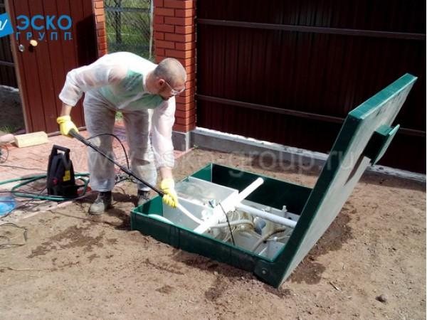 Промывка трубок пузырьковых насосов (эрлифтов) септика Астра-5